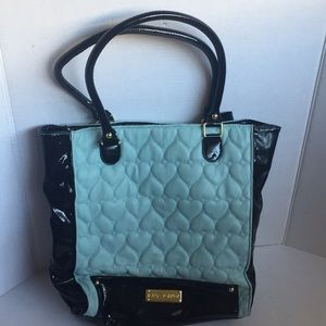 Betsey Johnson Purse. Sky Blue Quilted Hearts.